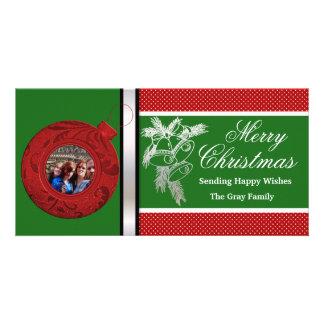 Frohe Weihnachten wünschen rotes grünes Karte
