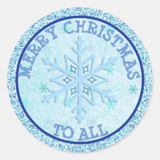 Frohe Weihnachten zu allem blauen Runder Aufkleber