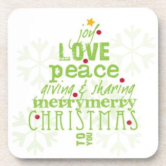 Frohe Weihnachten zu Ihnen Untersetzer im Weiß und