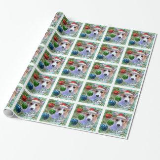 Frohe Weihnachtencorgi-Welpe Geschenkpapier