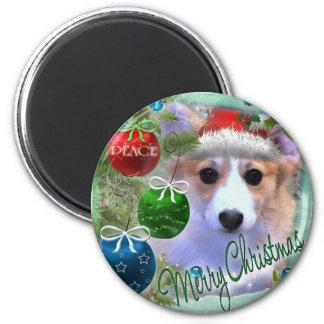 Frohe Weihnachtencorgi-Welpe Runder Magnet 5,7 Cm