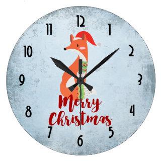 Frohe WeihnachtenFox in der Weihnachtsmannmütze Große Wanduhr