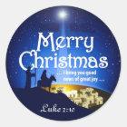 Frohe Weihnachtenluke-2:10 großer Runder Aufkleber