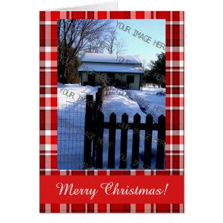 Frohe Weihnachtenroter weißer karierter Tartan Karte
