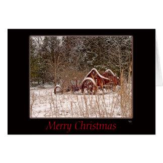 Frohe Weihnachtensnowy-Gruß-Karte im Freien Grußkarte