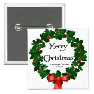 Frohe WeihnachtenWreath Clearwater christliche Kir Quadratischer Button 5,1 Cm