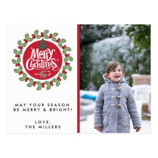 Frohe Weihnachtenwreath-Foto-Feiertags-Postkarten Postkarte