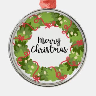 FROHE WEIHNACHTENWREATH, niedlich Silbernes Ornament