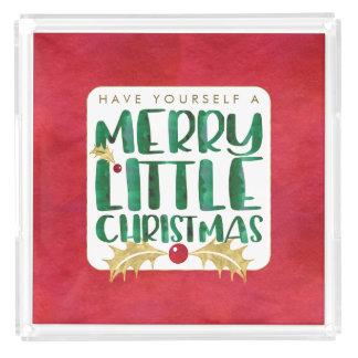 Frohe wenig Weihnacht-rotes Goldgrün-Aquarell Acryl Tablett