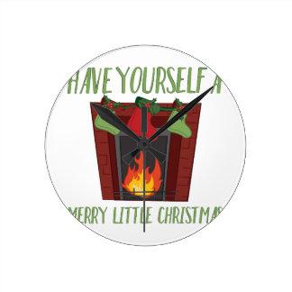 Frohe wenig Weihnachten Runde Wanduhr