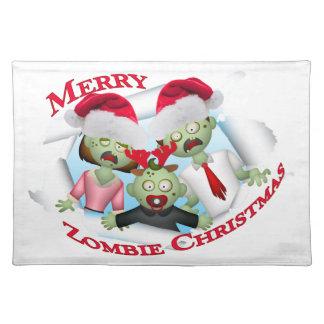 Frohe Zombie-Familien-Weihnachten Stofftischset