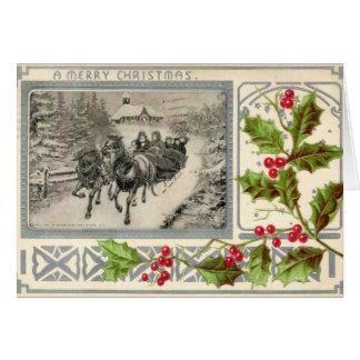 Frohen Weihnachten, Pferd gezeichneter Sleigh, Karte