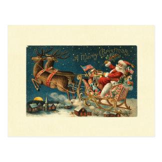 Frohen Weihnachten Vintage Sankt Postkarte
