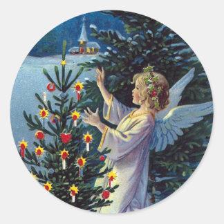 """""""Frohes Weihnachts"""" Vintages Weihnachten Runder Aufkleber"""