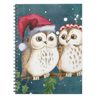 Fröhlich-Weihnachteneulen Notizblock