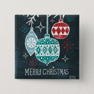 Fröhliche Christmastime Verzierungen Quadratischer Button 5,1 Cm