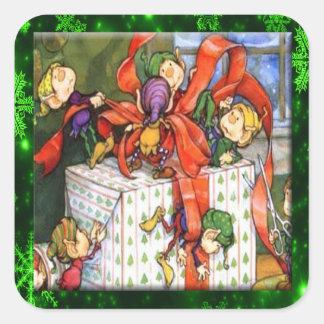 Fröhliche Elfe, die anwesende quadratische