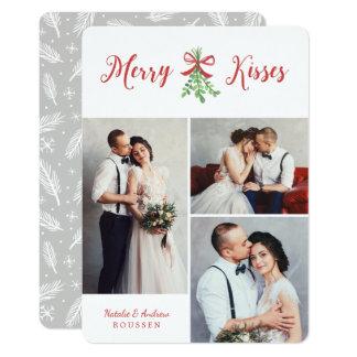 Fröhliche Foto-Feiertags-Karte der Kuss-drei 12,7 X 17,8 Cm Einladungskarte