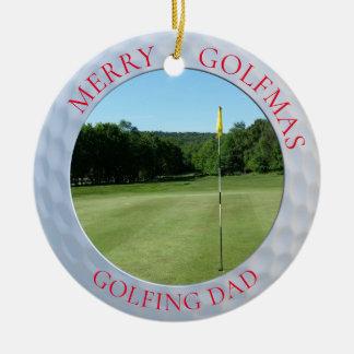 Fröhliche Golfmas Golf spielende Keramik Ornament