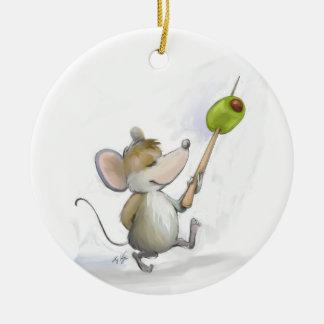 Fröhliche Maus Moe mit olivgrüner runder Keramik Ornament