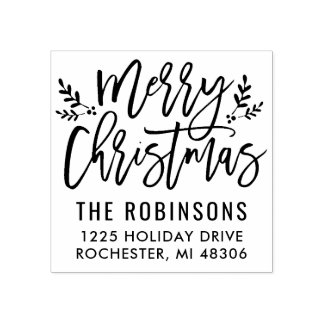 Fröhliche moderne Skript-Adresse des Weihnachten  Gummistempel