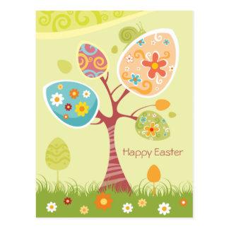 Fröhliche Ostern - abstrakter Baum Postkarten