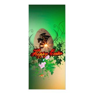 Fröhliche Ostern, Osterei mit lustigem Drachen 10,2 X 23,5 Cm Einladungskarte