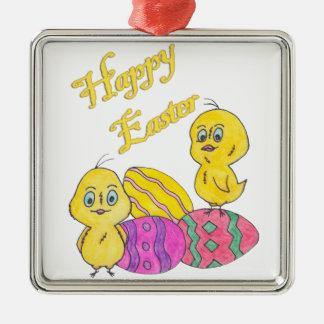 Fröhliche Ostern Silbernes Ornament