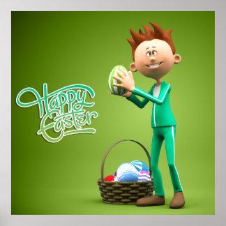 Fröhliche Ostern Toon Posterdruck