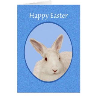 Fröhliche Ostern, weißes Kaninchenporträt Karte