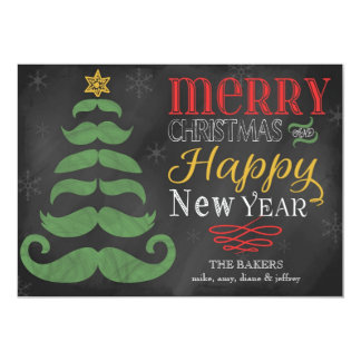 Fröhliche Schnurrbart-Tafel-flache Weihnachtskarte 12,7 X 17,8 Cm Einladungskarte