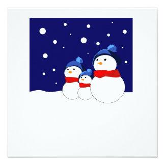 Fröhliche snowmans quadratische 13,3 cm einladungskarte