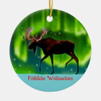 Frohliche Weihnachten - Nordlicht-Elch Keramik Ornament