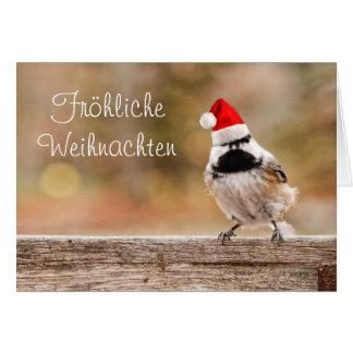 Fröhliche Weihnachten Sankt Chickadee-Karte Karte