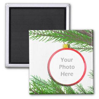 Fröhliche Weihnachtsbaum-Dekoration (Fotorahmen) Quadratischer Magnet