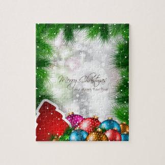 Fröhliche Weihnachtsbaum Greating Karte Puzzle