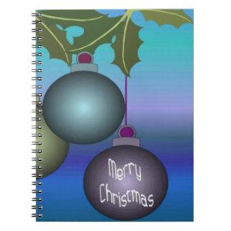 Fröhliche Weihnachtsbaum-Verzierungen Spiral Notizblock