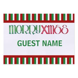 Fröhliche X'mas grüne Abendessen-Platzkarte Mini-Visitenkarten