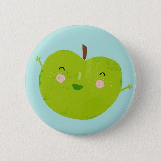fröhlicher Apfel Runder Button 5,7 Cm