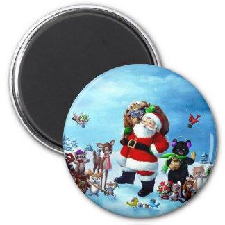 Fröhlicher Chrstimas Weihnachtsmann mit Tieren Runder Magnet 5,1 Cm