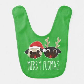Fröhlicher Pugmas Weihnachtssankt-Mops-Ren-Mops Babylätzchen