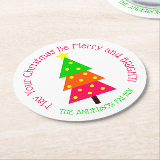 Fröhlicher und heller Weihnachtsbaum Runder Pappuntersetzer