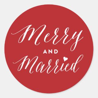 Fröhlicher und verheirateter erster runder aufkleber