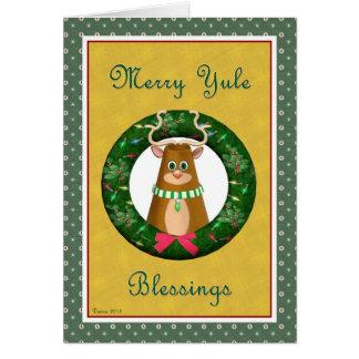 Fröhlicher Weihnachten-Segen Hirsch und Grußkarte