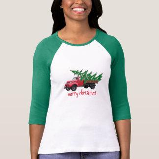 fröhlicher Weihnachtsbaum auf LKW-Shirtfrauenmode T-Shirt