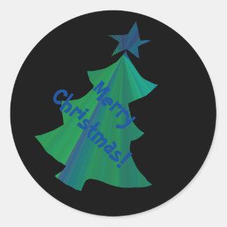 Fröhlicher Weihnachtsbaum-Aufkleber Runder Aufkleber