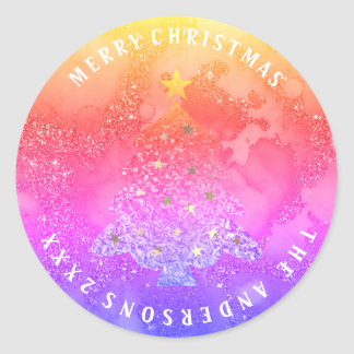 Fröhlicher Weihnachtsbaum-Glitzer-blauer Runder Aufkleber