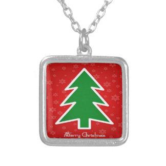 Fröhlicher Weihnachtsbaum mit Schneeflocke Versilberte Kette