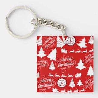 Fröhlicher Weihnachtsbaum-Sankt-Ren-Feiertag Beidseitiger Quadratischer Acryl Schlüsselanhänger