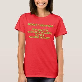 Fröhlicher Weihnachtspolitisch falscher Feiertag T-Shirt
